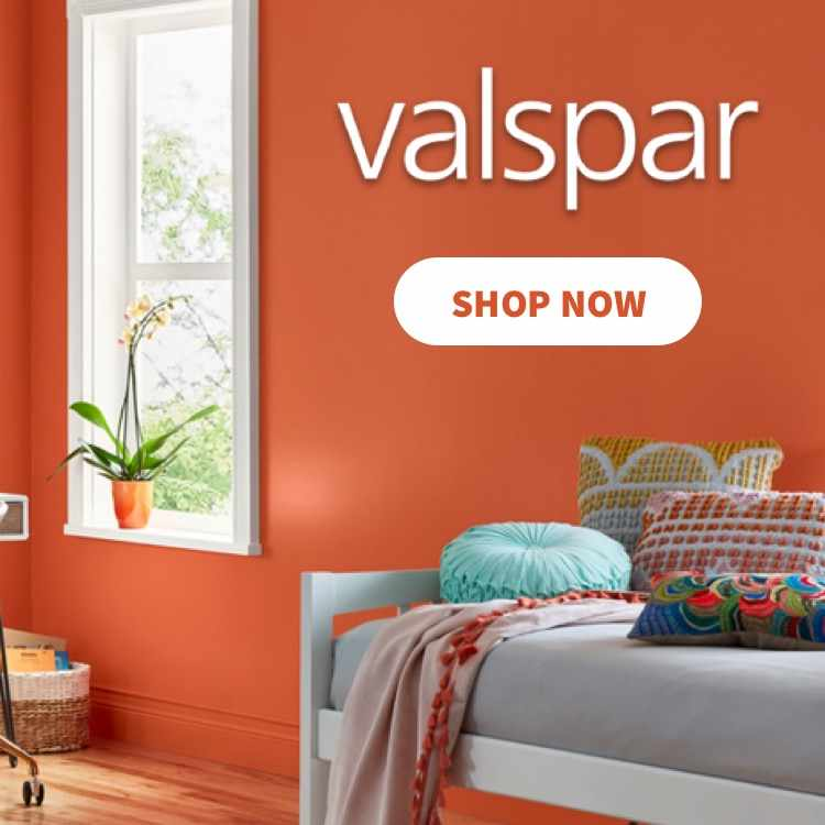 A modern room interior painted with a breathtaking orange from Valspar.