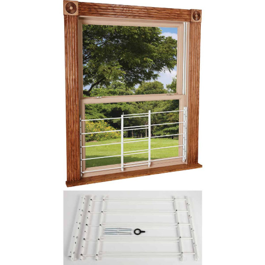 John Sterling Corp Hinged White Enamel 5-Bar Child Safety & Window Security Guard