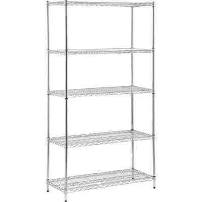 Honey Can Do 35 In. x 72 In. x 13 In. 5-Tier Chrome Stainless Steel Shelf