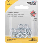 National 7/8 In. Zinc Light Closed S Hook (8 Ct.) Image 2