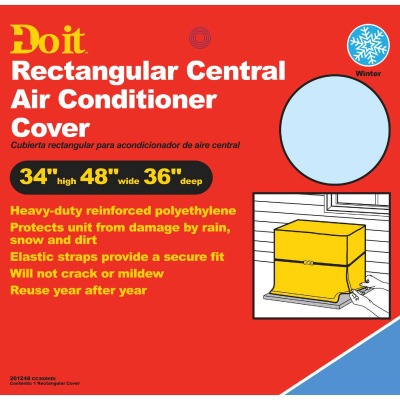 "Do it 48"" x 34"" x 36"" Gray Polyethylene 9 mil Rectangular Central Air Conditioner Cover"