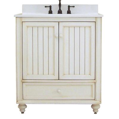 Sunny Wood Bristol Beach White 30 In. W x 34 In. H x 21 In. D Vanity Base, 2 Door/1 Drawer