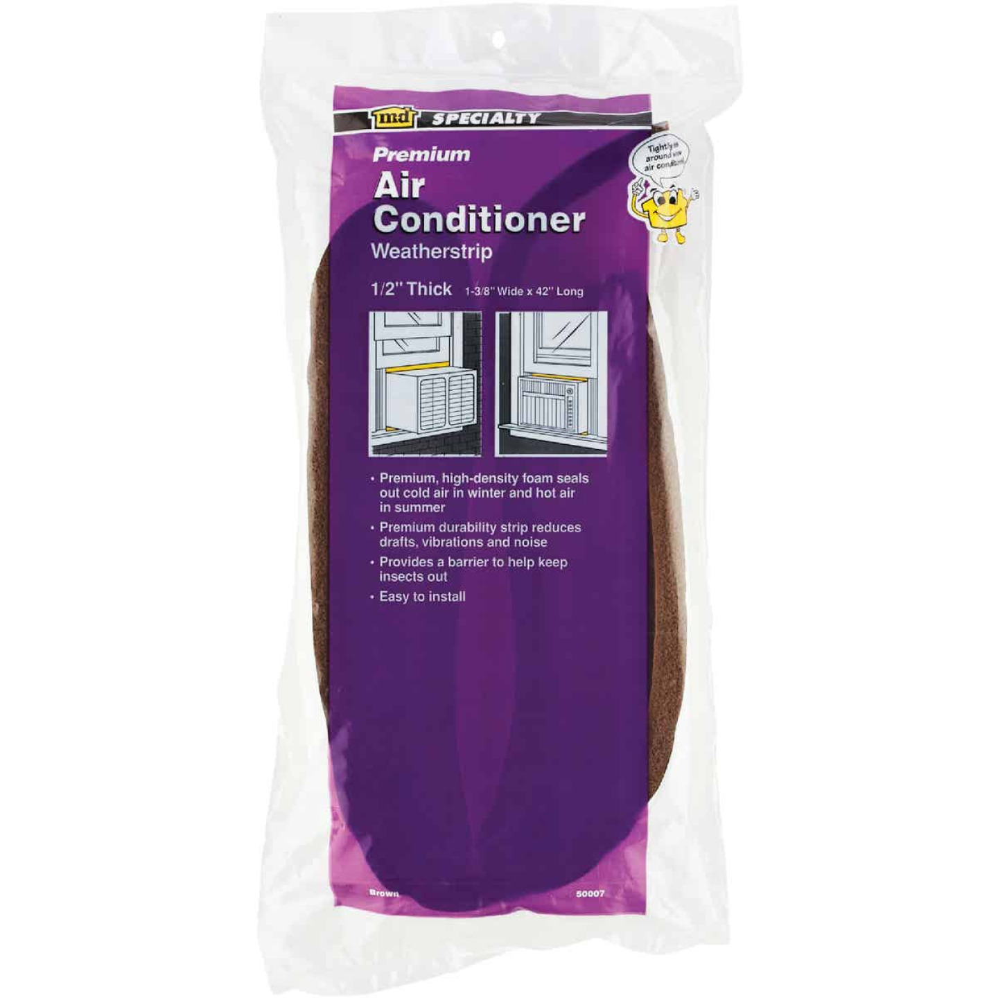 "M-D 42"" 1-3/8"" 1/2"" Air Conditioning Weatherstrip, Brown Image 2"