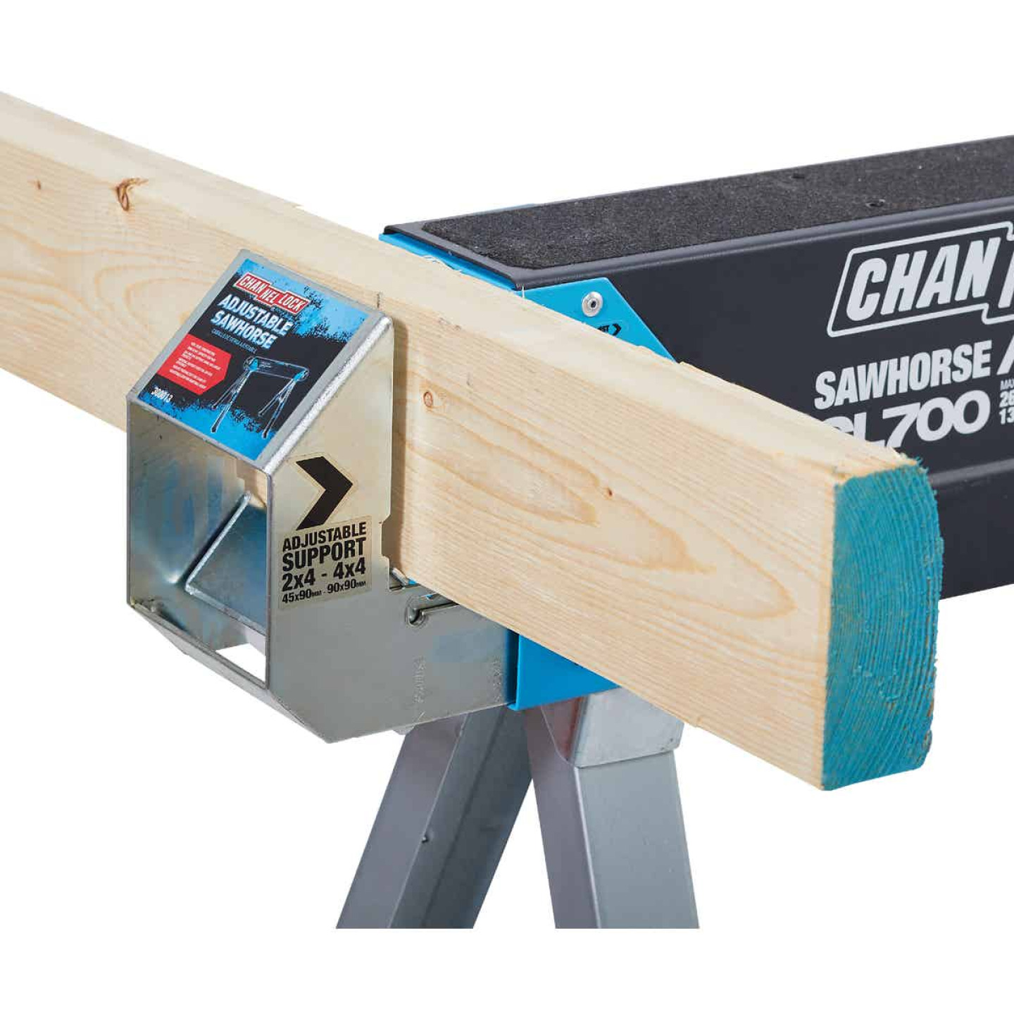 Channellock 39-1/4 to 45-3/4 In. Long Steel Adjustable Sawhorse Jobsite Table, 1300 Lb. Capacity Image 13
