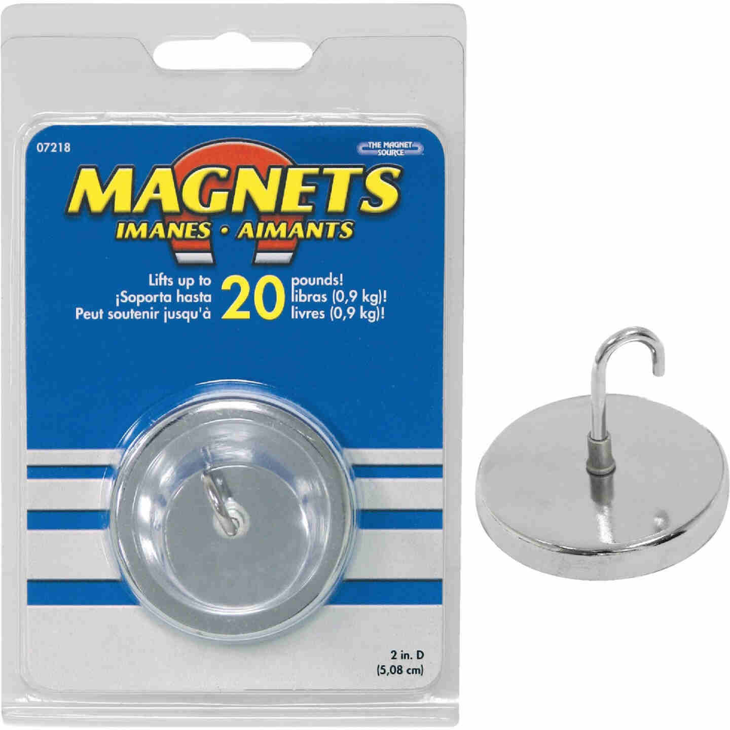 Master Magnetics 20 Lb. Magnetic 2 in. Handi-Hook Image 1