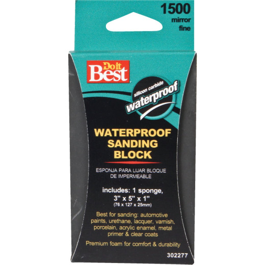 Do it Best Waterproof 3 In. x 5 In. x 1 In. 1500 Grit Mirror Fine Sanding Sponge