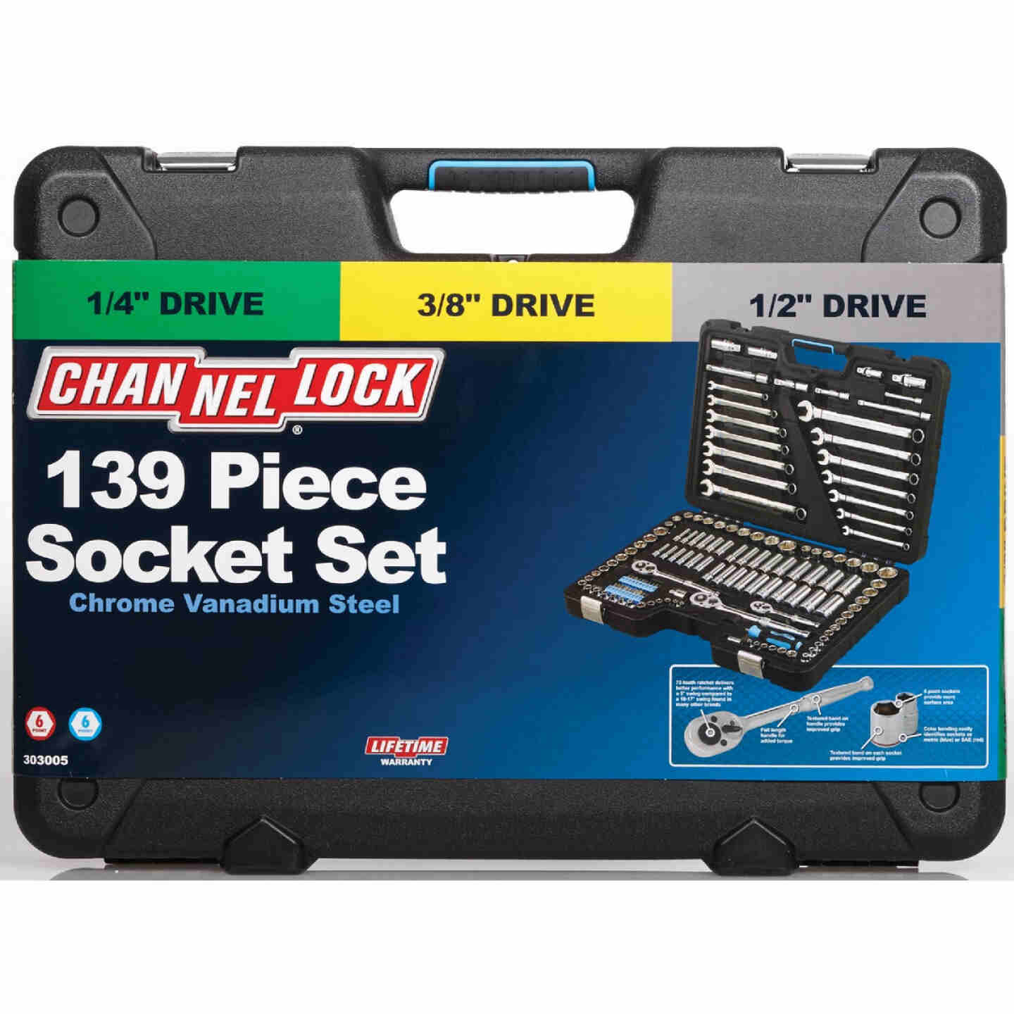 Channellock Standard and Metric 6-Point Combination Ratchet & Socket Set (139-Piece) Image 2