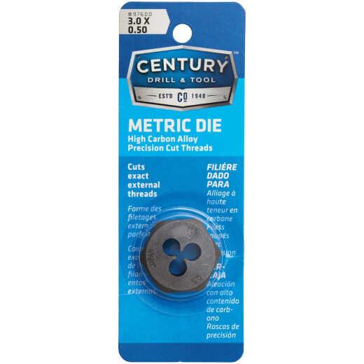 Century Drill & Tool 3.0x0.50 1 In. Across Flats Die Metric Hexagon