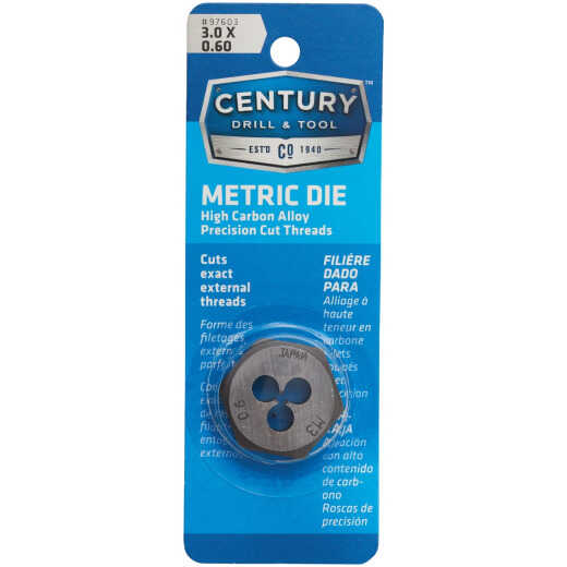 Century Drill & Tool 3.0x0.60 1 In. Across Flats Die Metric Hexagon