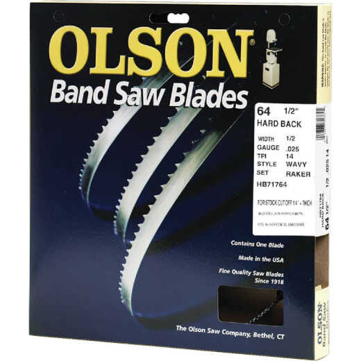 Olson 64-1/2 In. x 1/2 In. 14 TPI Wavy Hard Back Metal Cutting Band Saw Blade