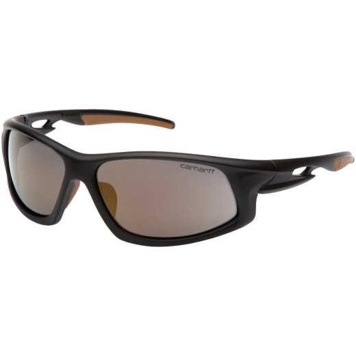 Carhartt Ironside Black & Tan Frame Safety Glasses with Antique Mirror Anti-Fog Lenses