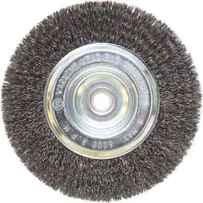 Weiler Vortec 6 In. Crimped, Coarse Bench Grinder Wire Wheel