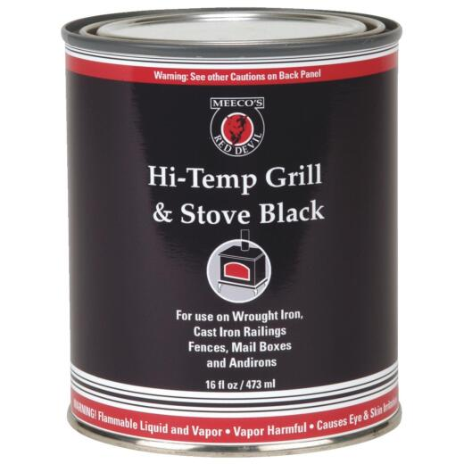Meeco's Red Devil Satin High Heat Grill and Black Stove Enamel, Black, 1 Pt.