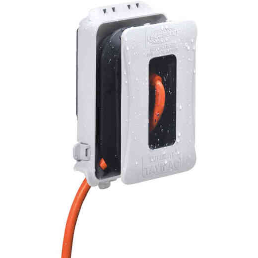 Hubbell Single Gang Vertical/Horizontal Mount White Expandable In-Use Outdoor Outlet Cover