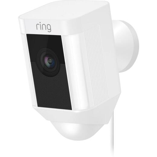 Ring Plug-In Indoor/Outdoor White Security Camera with Spotlight