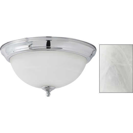 Home Impressions 13 In. Chrome Flush Mount Incandescent Ceiling Light Fixture with Alabaster Glass