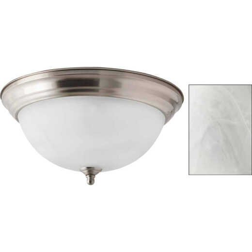 Home Impressions 13 In. Brushed Nickel Incandescent Flush Mount Ceiling Light Fixture with Alabaster Glass