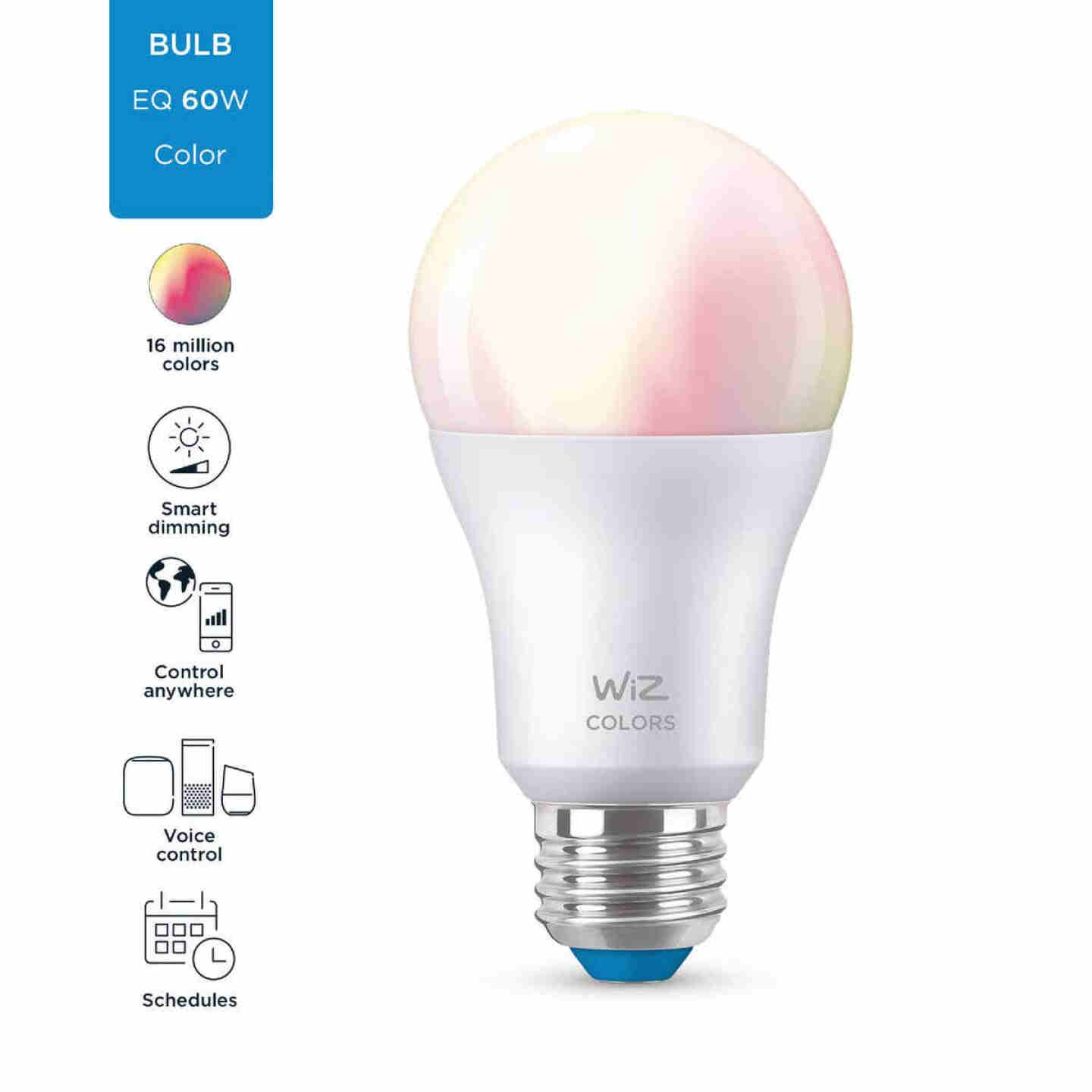 Wiz 60W Equivalent Color Changing A19 Medium Dimmable Smart LED Light Bulb Image 3