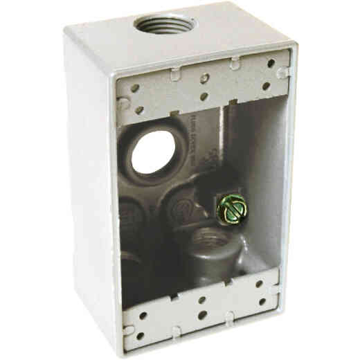Hubbell Single Gang 1/2 In. 4-Outlet White Aluminum Weatherproof Outdoor Outlet Box