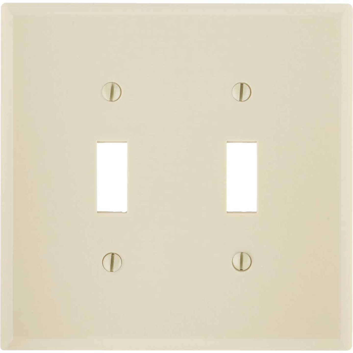 Leviton 2 Gang Plastic Toggle Switch Wall Plate Ivory Henery Hardware