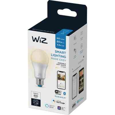 Wiz 60W Equivalent Soft White A19 Medium Dimmable Smart LED Light Bulb