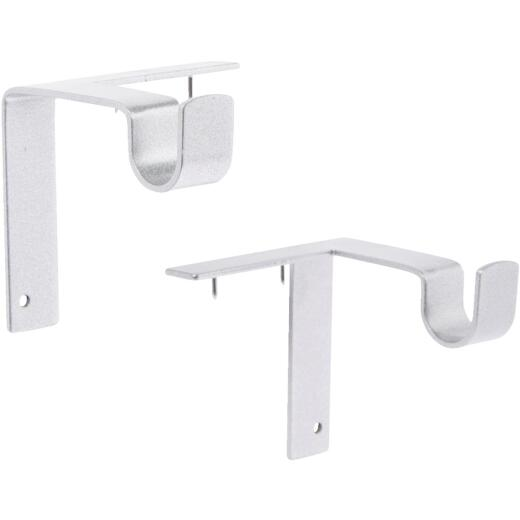 Kwik-Hang 5/8 In. x 2-3/4 In. Projection Silver Curtain Rod Bracket (2-Pack)