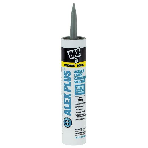 DAP ALEX PLUS All Purpose 10.1 Oz. Slate Gray Siliconized Acrylic Latex Caulk