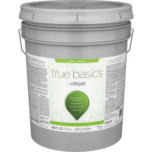 True Basics by Valspar Satin Exterior Paint, 5 Gal., Clear Base