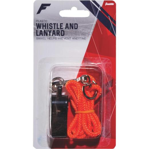 Franklin Black Plastic Whistle with Lanyard